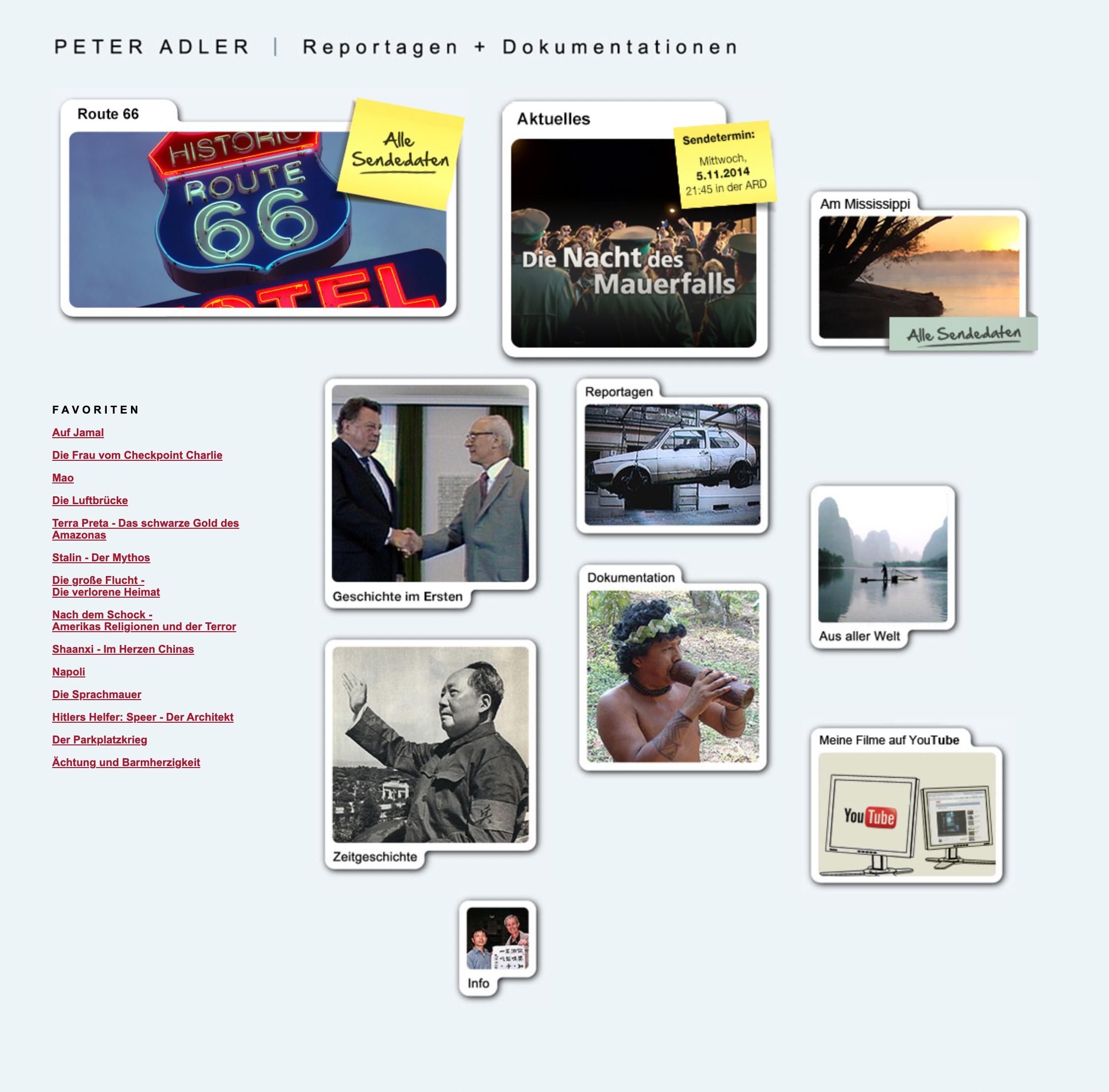 Die Website vom Peter Adler im Zeitraum von 2008 bis 2015